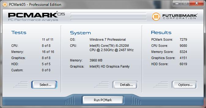 Toshiba Tecra R840-11E PC Mark 05 Ergebnisse