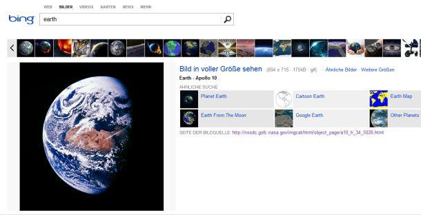 ... wobei eine gewisse Verwandtschaft zur Darstellung der Suchgergebnisse bei Microsofts Suchmaschien Bing zumindest in deren US-Version nicht zu verleugnen ist.