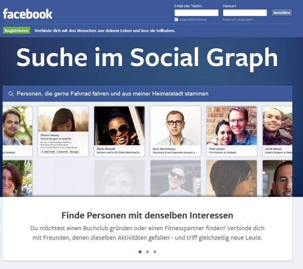 Deutsche Nutzer sehen bisher lediglich eine wenig aussagekräftige Demo der Facebook-Suche, können sich aber auf einer Warteliste eintragen (Screenshot: ITespresso).