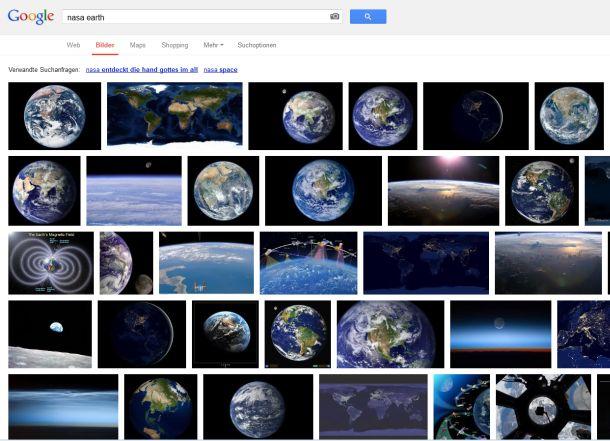 """So stellt Google die Ergebnisse seiner Bildsuche nach """"NASA Earth"""" heute dar ..."""