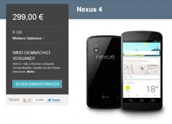 Wieder bei Google Play im Angebot: Das Nexus 4