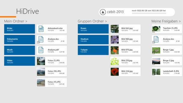 Die Übersichtsseite der HiDrive-App zeigt eigene Ordner, Gruppen-Ordner und freigegebene Dateien an (Bild: Strato).