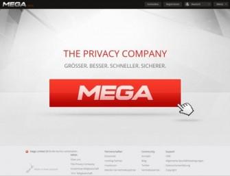 Auch die deutsche Homepage von Mega ist seit gestern online.