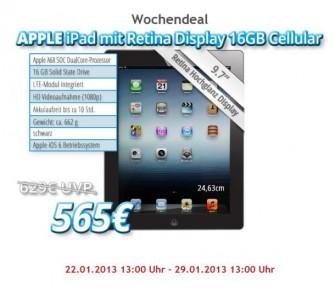 Bei Notebook.de gibt es das aktuelle iPad diese Woche zum Schnäppchenpreis von 565 Euro (Screenshot: ITespresso).