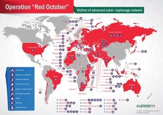Es stellte sich jetzt heraus, dass zusätzlich zu Einrichtungen in den rot markierten Ländern auch in Rumänien und Polen Opfer von Red October sitzen (Grafik: Kaspersky)