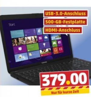 Penny bietet ab 31. Januar ein Toshiba-Notebook der Serie Satellite C850-1GL für 379 Euro an (Screenshot: ITespresso).
