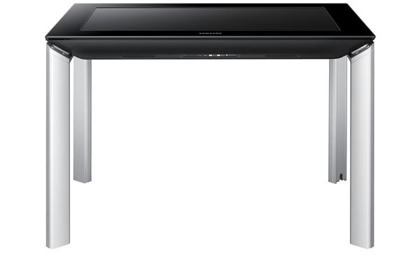 Bei Samsungs SUR40 ist jeder Bildpunkt mit einem lichtempfindlichen Sensor verbunden, so kann der Computertisch Gegenstände erkennen, die darauf abgelegt werden. (Foto: Samsung)