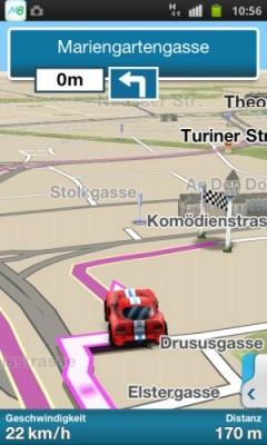 Die Navigations-Ansicht der App M8 auf einem Android-Smartphone (Bild: Telmap).