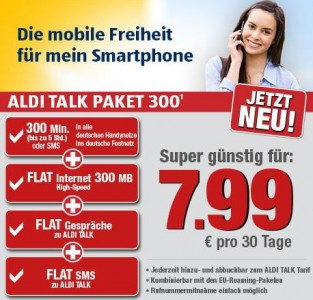 mobilfunktarife neues aldi talk paket f r 7 99 euro. Black Bedroom Furniture Sets. Home Design Ideas