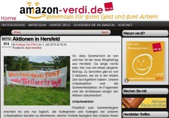 Die Gewerkschaft Verdi kämpft mit einer eigenen Website schon länger um Tarifverträge für die bei Amazon Beschäftigten (Screenshot: ITespresso).