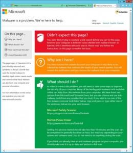 Microsoft und Symantec haben Nutzer auf einer eigens eingerichteten Website über das Botnet Bamital informiert (Bild: Microsoft).