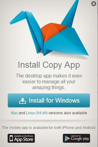 Apps zur Nutzung von Copy sind derzeit für den Desktop, Android und iOS verfügbar, eine für Windows Phone ist in Vorbereitung.