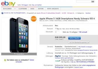 Allmählich mehren sich Angebote für das iPhone 5 unter 600 Euro (Screenshot: ITespresso).