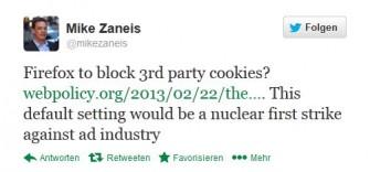Nicht jeder freut sich über die Do-not-Track-Einstellungen bei Firefox - ablehnend steht ihr etwa US-Werbelobbyist Mike Zaneis gegenüber (Screenshot: ITespresso).