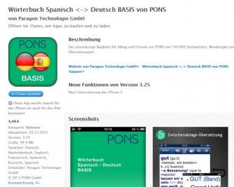Das von paragon in eine App gegossene Pons-Wörterbuch Deutsch-Spanisch bei iTunes (screenshot: ITespresso).