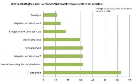 Die Ergebnisse der Umfrage von ITespresso.de unter seinen Lesern im Januar 2013 zu den Themen, die sie als IT-Verantwortliche in diesem Jahr voraussichtlich am meisten beschäftigen. Pro Teilnehmer waren bis zu drei Antworten möglich (Grafik: ITespresso).