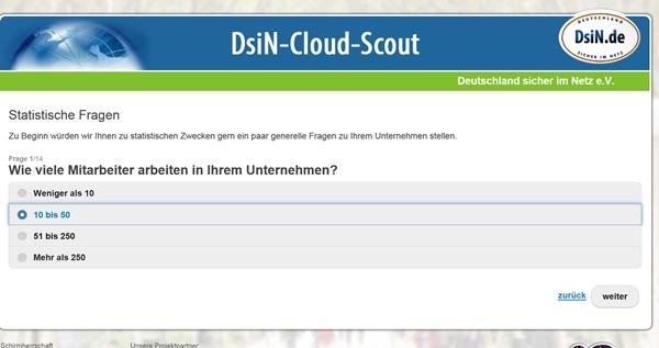 Die Website des DsiN-Cloud-Scout. Der Service frägt zuerst einige Daten des Unternehmens ab.