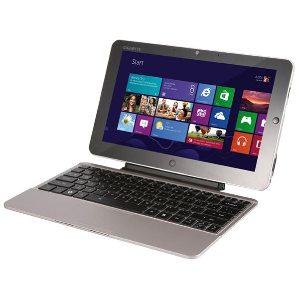 Padbook S1185 von Gigabyte. Der Kickstand und das Keyboard-Kit sollen eine Dockingstation überflüssig machen. (Foto: Gigabyte)