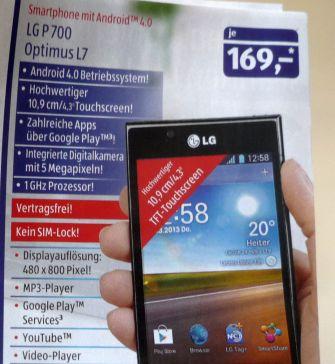 Das LG P700 Optimus L7 gibt es ab 14. März für 169 Euro bei Aldi Süd (Bild: ITespresso).