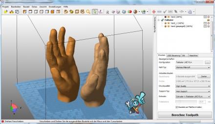 Die mitgelieferte Software erlaubt sowohl bei Ultimaker als auch bei Fabbster die Erstellung eigener 3D-Druckvorlagen (Bild: Sintermask).