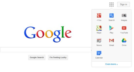 In den Tests ersetzt Google die schwarze Navigationsleiste am oberen Seitenrand durch ein Auswahlmenü (Bild: Google Operation System).