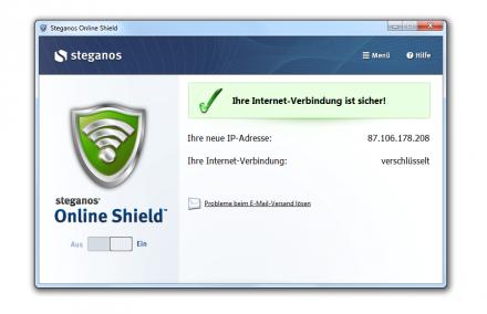 Steganos Online Shield schützt Internetsurfer in öffentlichen Hotspots oder WLAN. Die Datenkommunikation wird verschlüsselt, die IT-Adresse gegen eine zufällige vertauscht. (Screenshot: Steganos)