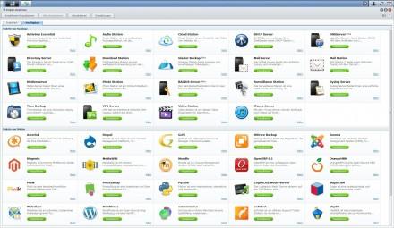 Das Paketzentrum bietet zahlreiche Anwendungen, die sich zusammen mit der NAS-Box nutzen lassen (Screenshot: Christian Lanzerath).