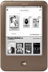 Mit dem Tolino Shine, der seit 7. März für 99,99 Euro erhältlich ist, soll es Amazons Kindle an den Kragen gehen (Bild: Hugendubel).