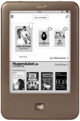 Mit dem Tolino Shine, der ab 7. März für 99,99 Euro erhältlich ist, soll es Amazons Kindle an den Kragen gehen (Bild: Hugendubel).