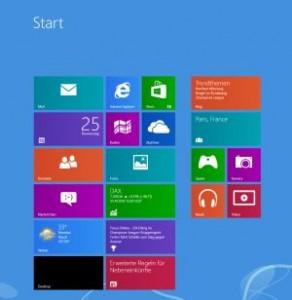 Die Start-Ansicht von Windows 8.