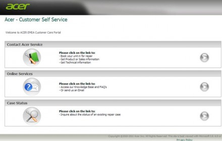 Acer-Customer Self Service