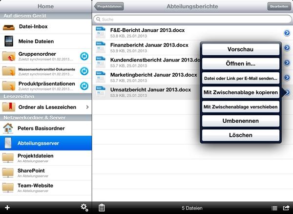 Die Ansicht von Acronis Mobil Echo auf dem iPad. Die Dateien und Ordner sind ganz ähnlich wie im Explorer dargestellt, so dass der Nutzer sich schnell zurechtfindet. (Screenshot: Acronis)