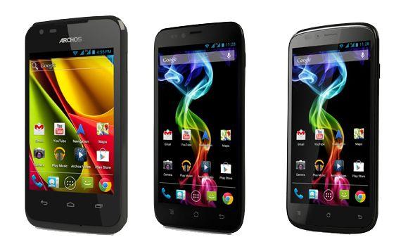 Archos erste Smartphones: 35 Carbon, 50 Platinum und 53 Platinum (Bild: Archos).