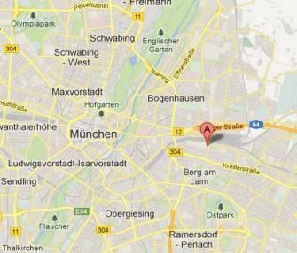 Der ITespresso-Tech-Ausflugstipp für den 27. und 28. April 2013: Die  Mehrzweckhalle des ESV München Ost (Screenshot: ITespresso bei Google Maps).