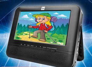 Den mobilen DVD-Player mit zwei 7-Zoll-Bildschirmen der Marke Dual gibt es ab 6. Mai bei Norma (Bild: Norma).