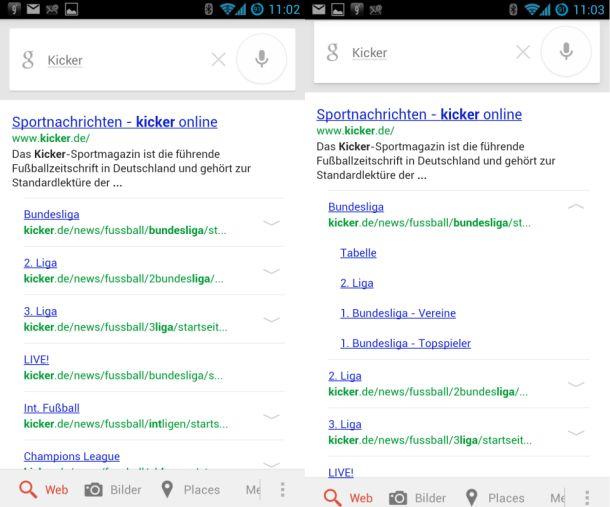 Ausklappbare Links auf der Ergebnisseite führen Mobilnutzer schneller zu den gewünschten Unterseiten einer Website (Screenshot: ZDNet.de).