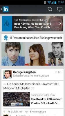 Der dynamische Stream der neuen LinkedIn-App (Bild: LinkedIn).