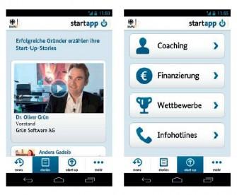"""Die """"Start-App"""" soll Unterstützung für die Gründung von Start-ups bieten und als mobiler Gründungsbegleiter wichtige Fragen rund um das Thema Existenzgründung im IT- und Hightech-Bereich beantworten (Bild: BMWi)."""