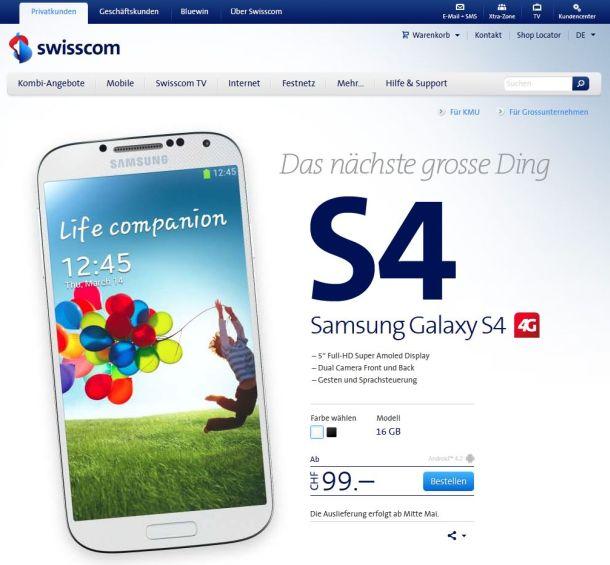 Swisscom hat auf seiner Website den Termin für die Auslieferung des Samsung Galaxy S4 von Ende April auf Mitte Mai verschoben (Screenshot: ITespresso)