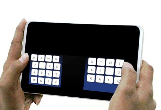 Nach vier bis acht Studnen Eingewöhnungszeit soll das Schreiben mit zwei Dauemn auf dem Tablet schneller gehen, als mit alternativen Schreibtechniken (Bild: Max-Planck-Institut für Informatik).