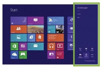 """Gut versteckt, aber vorhanden: Die Funktion """"Ein/Aus"""" kann bei Windows 8 über die Charm-Bar unter dem Menüeintrag """"Einstellungen"""" aufgerufen werden (Bild: Usability.de)."""