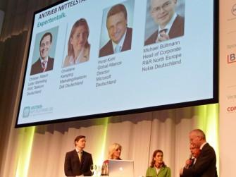 Die Hauptredner auf der Antrieb Mittelstand-Konferenz waren Christian Rätsch, Telekom Deutschland, Moderatorin Birte Karalus, Christian Kampling, Dell, Horst Kohl, Microsoft und Michael Bültmann, Nokia.