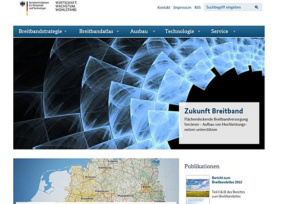 """Glaubt man dem Bundesministerium für Wirtschaft und Technologie dann geht der Breitbandausbau in Deutschland zügig voran. Der Screenshot zeigt die Seite """"Zukunft Breitband"""", die vom Bundeswirtschaftsministerium betrieben wird."""