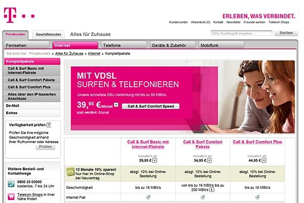 Die Telekom hat für ihre Ankündigung Breitbandanschlüsse ab einem bestimmten Datenvolumen zu drosseln, viel Kritik einstecken müssen. Der Screenshot zeigt die aktuellen Internetangebote des Konzerns.
