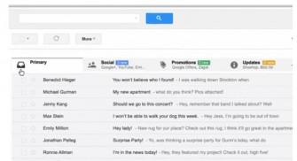 Im überarbeiteten Posteingang bei Gmail lassen sich Mails mit bis zu fünf von Google definierten Tabs organisieren (Screenshot: Google).