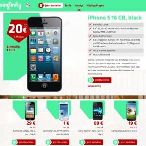Zum Marktstart schickt Simfinity eine ordentliche aber überschaubare Auswahl von Smartphones ins Rennen (Screenshot: ITespresso).