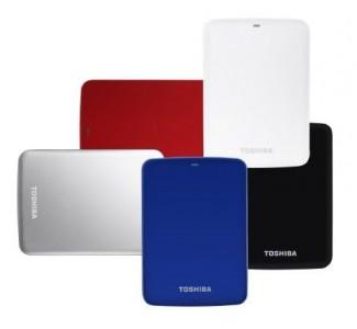 Die Serie Stor.E-Canvio bietet Toshiba nun mit bis zu 2 Tbyte Speicherkapazität an (Bild: Toshiba).