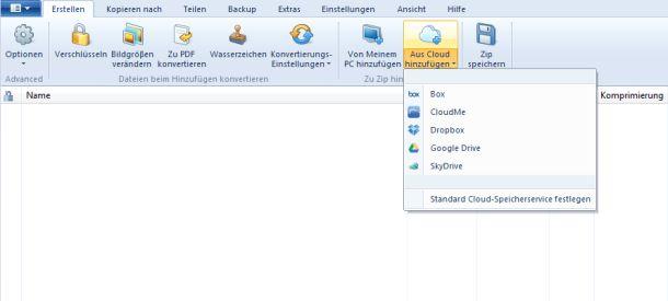 Mit WinZip 17.5 lassen sich Dateien auch direkt aus mehreren Cloud-Speicherdiensten zippen (Bild: WinZip Computing).