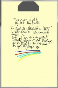 Genau wie bei Staedtlers Digitalstift kann der Nutzer auch beim Stift von Aiptek, Farbe und Strichstärke beliebig verändern.