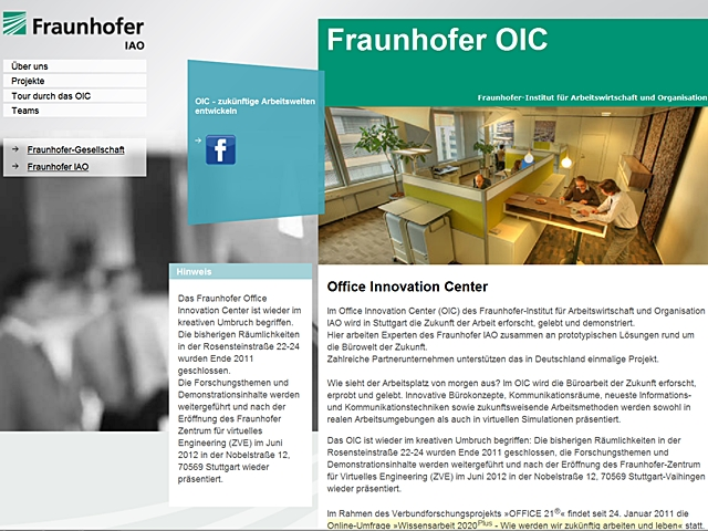 Die Homepage des Office Innovation Center am Fraunhofer Institut.